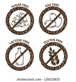 Diet icons. Gluten free, lactose free, sugar free and egg free