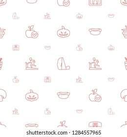 diet icons pattern seamless white background. Included editable line pumpkin haloween, treadmill, floor scales, apple, hot dog, carrot, mushroom icons. diet icons for web and mobile.