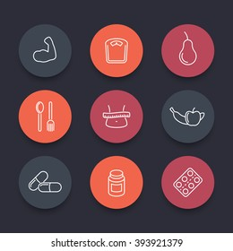 Diet, nutrition line round icons, pictograms, vector illustration