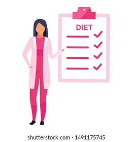 Diet planning flat vector illustration. Female nutritionist prescribing nutrition schedule isolated cartoon character on white background. Dietitian explaining weight loss program steps, items
