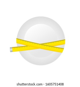 Diet. Plate with measuring tape. Vector stock illustration.