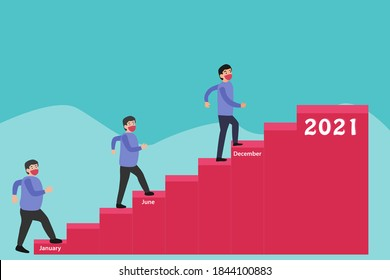 Diet resolution vector concept: Overweight man in face mask climbing stairs for weight loss toward the top stair with number 2021