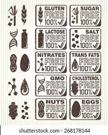 Diet signs collection. Gluten, lactose, sugar, salt, nuts, eggs, nitrates, cholesterol, trans fats and GMO free labels.