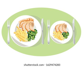 Diet tips with small portion or big portion