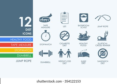 diet vector set of modern simple icons