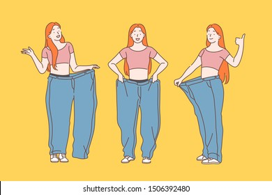 Diet, weight loss, slimming concept. Slim waist of young woman showing her old jeans after successful diet. Simple flat vector.