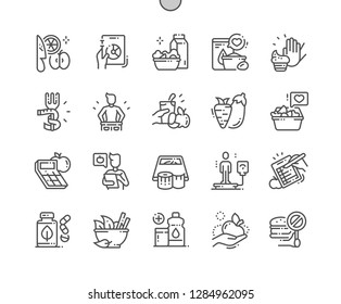 Diet Well-crafted Pixel Perfect Vector Thin Line Icons 30 2x Grid for Web Graphics and Apps. Simple Minimal Pictogram