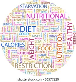 DIET. Word collage on white background. Word cloud concept illustration of  association terms.