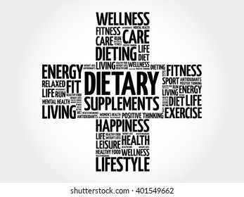 Dietary Supplements word cloud, health cross concept background