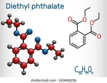 Diethyl phthalate, DEP plasticizer molecule, is a phthalate ester. Structural chemical formula and molecule model. Vector illustration