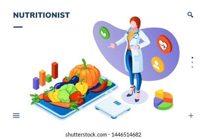 Dietician or nutritionist with vegetables on plate and scales. Isometric page for dieting, weight control application. Vegetarian salad ingredients for healthy food, weight loss plan, calorie checking