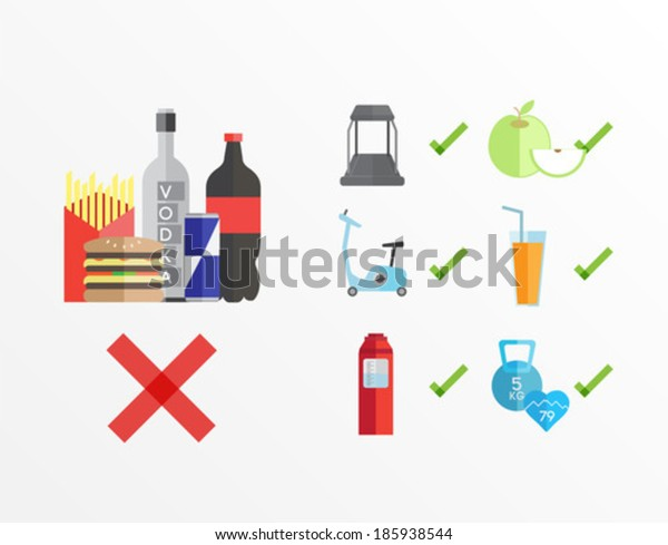 Dieting and fitness guidelines vector on white background