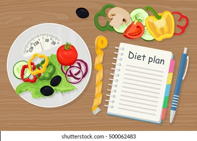 Dieting and nutrition. Diet plan, menu or program, tape measure, scales and healthy food on wood background. Weight loss. Slimming. Vector illustration. Flat style