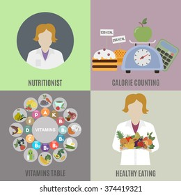 Dietitian and healthy eating. Flat isolated vector illustration