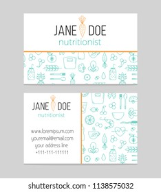 Dietitian or Nutritionist business card template in modern thin line design