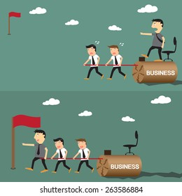 difference between boss and leader business competition concept between boss and leader, vector illustration.