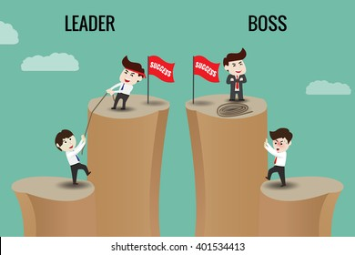 The difference between leader and boss, template