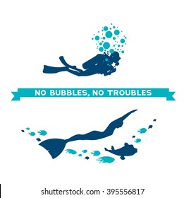 Difference between scuba and free diver. Underwater vector illustration - scuba diver with bubbles and freediver with fish. No bubbles, no troubles.