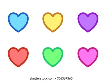 difference color hearts for icon or symbols.