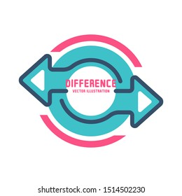 Difference concept. Vector illustration flat design. Isolated on white background. Confrontation logo. Template comparison. Two arrows are directed in different directions.