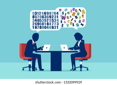 Difference distinction in man and woman mindset concept. Vector of a businessman and businesswoman having a different approach to problem solving