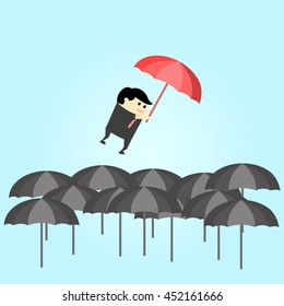 Difference umbrella that show success concept, vector