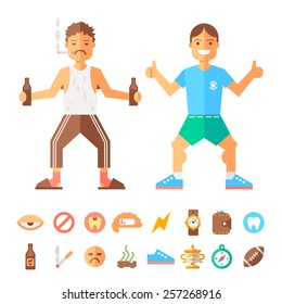Differences lifestyle of good and bad guy. Flat vector illustration and icons.