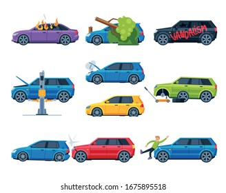 Different Accidents and Crashes on the Road Set, Damaged Car Vehicles Flat Vector Illustration