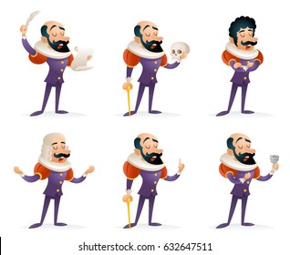 Different Actions Icons Set Actor Theater Stage Man Characters Medieval Cartoon Design Template Vector Illustration