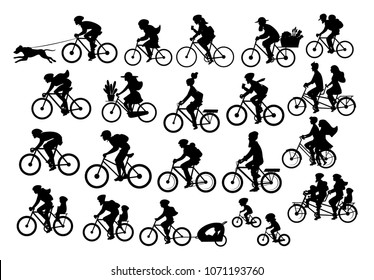 different active people riding bikes silhouettes collection, man woman couples family friends children cycling to office work, travel with backpacks,bicyle trailers, sport, mountain, city drive