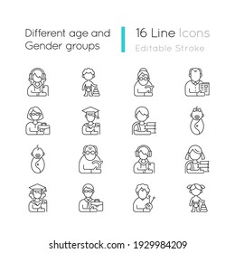 Different age and gender groups linear icons set. Aging process. Child development. Teen. Senior citizen. Customizable thin line contour symbols. Isolated vector outline illustrations. Editable stroke