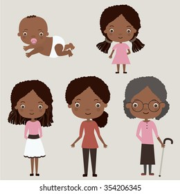 Different ages. Baby, child, teenager girl, adult woman, old lady. Black woman. African American. Vector illustration