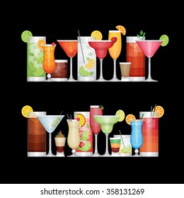 Different alcohol cocktail on black background. Drinks and beverages. Flat design style, vector illustration.