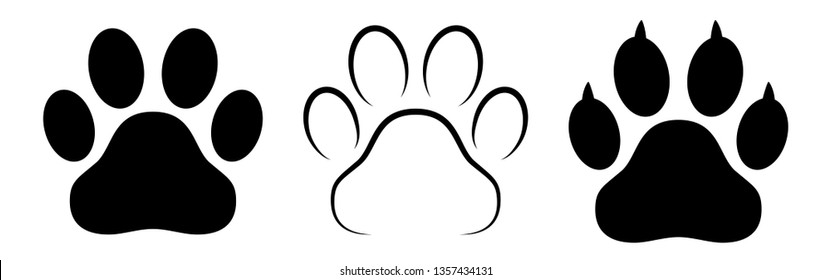 Different animal paw print silhouette isolated vector illustrations