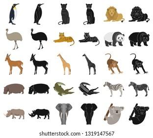 Different animals cartoon,black icons in set collection for design. Bird, predator and herbivore vector symbol stock web illustration.