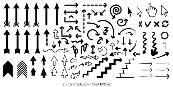 Different  arrow arrows Hand drawn drawings up down right leftline circle Vector icons icon sign symbol Fun Set doodle Line Lines pattern Business growth growing concept chart theme mushroom pencil