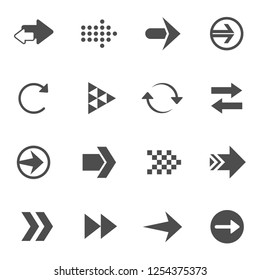 Different arrows. Set of 16 high quality web icons