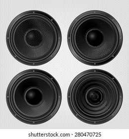 Different Audio speakers set on a grille background. Subwoofer, front view. Vector illustration.