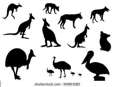 different Australian animals silhouette on white background