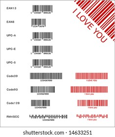 Different bar codes (vector)