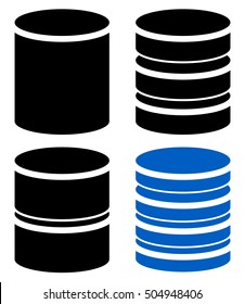 Different barrel ,cylinder, shape symbol, icon set