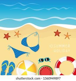c2bb1f359ab8 different beach utensils summer holiday background with flip flops  sunglasses bikini and starfish vector illustration EPS10