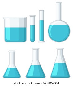 Different beakers filled with blue liquid illustration
