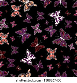 Different beautiful butterflies flying for coloring book. Vector illustration. Seamless pattern background with insect. Abstract seamless pattern for clothes, boys, girls, wallpaper.