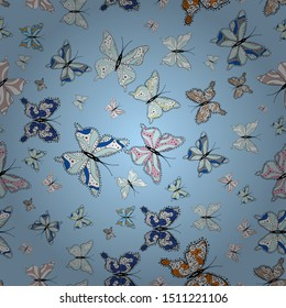 Different beautiful butterflies flying for coloring book. Abstract seamless pattern for clothes, boys, girls, wallpaper. Vector illustration. Seamless pattern background with insect.