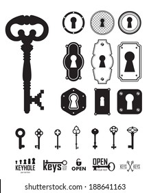 Different beautiful set of silhouettes keys and keyholes decorated frame. Vector illustration on white background.
