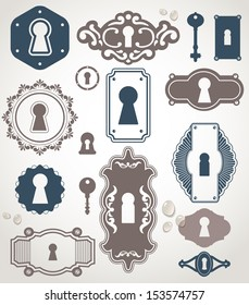Different beautiful silhouettes keyholes. Decorated frame. Key
