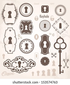 Different beautiful silhouettes keyholes. Decorated frame. Keys