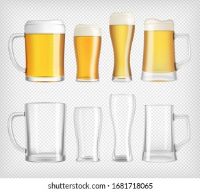 Different beer glasses and mugs