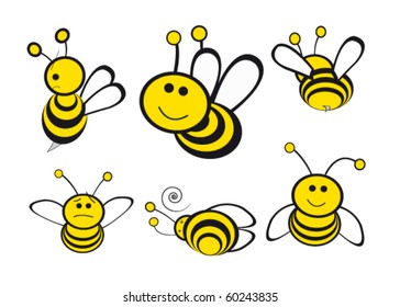 different bees expressions and positions . illustration vector